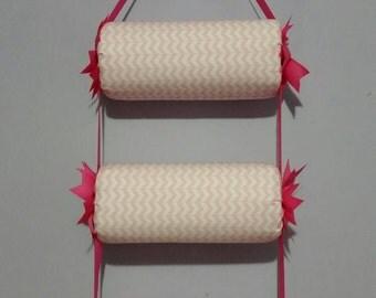 head band holder or headband organizer soft pink chevron , triple - 3 tiers holder