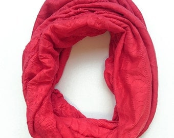 SALE Winter infinity fabric scarf, chunky, snood, tube scarves, loop scarf, circle scarf, jersey, t-shirt material, wide, coral, pink, warm