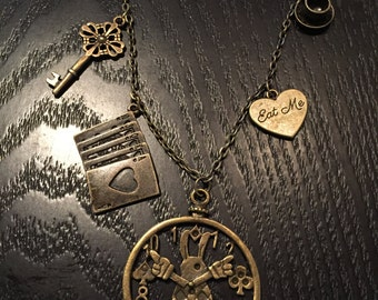 Bronze Alice in Wonderland steampunk charm necklace