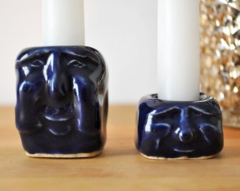 Navy Blue Candlestick Holders with Smiling Faces; Handmade Ceramic Pottery