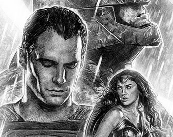 Batman v. Superman: Dawn of Justice illustration A3 print