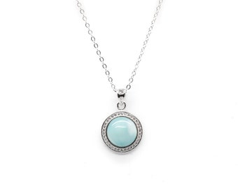AZIEL Free Shipping  14K White Gold Plated Silver Natural Larimar Pendant Necklace, 18""