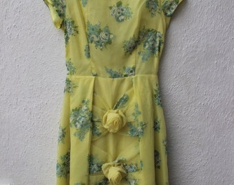 Vintage Yellow 1950s Dress Floral Bow Blue Prom Wedding Full Skirt Flower Summer Sun