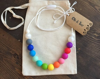 Rainbow, Teething Necklace, Nursing Necklace, Baby Teether