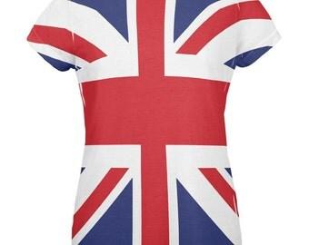 British Flag Union Jack All Over Womens T Shirt