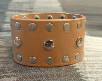 Tan Stud Upcycled Cuff