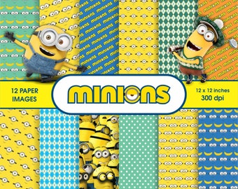 minions, scrapbook digital paper pack - printable papers - Instant download - 12x12 inches. 300 dpi.