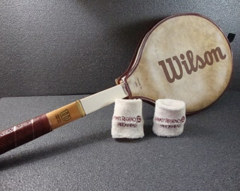 Chris Evert Vintage Wilson Tennis Racket Wooden 4 3/8 with Cover and Hilton Head Wrist Bands
