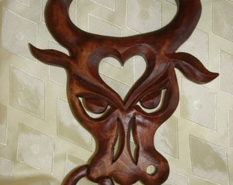 Taurus,  Taurus Constellation,  Wooden sign Taurus ,  Woodcarving Taurus , Carving wall, Taurus mask
