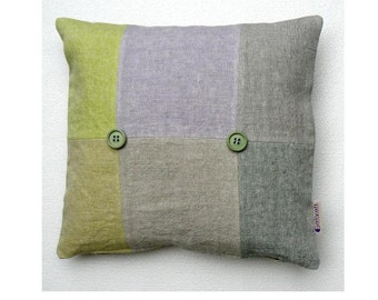 Green Gray Mauve Beige Handmade Decorative Pillow Cover/Case, Square accent pillow cover - Unique - Collection VERONA