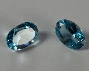 Natural Light Sky Blue Topaz, Matching Pair Oval Mixed Cut, 1.05ct total weight