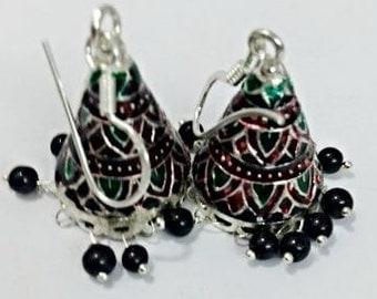 ENAMLE JHUMKI /blue jhumki/stone beads jhumki /traditional jhumki /silver jhumki/overlay jhumki