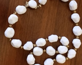 Vintage White Large Beaded Necklace, Hong Kong