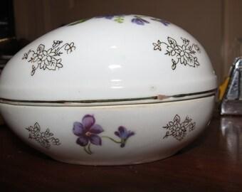 Vintage Purple Flowered Egg-Made in Japan