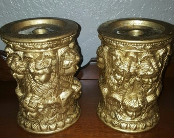 angel candle holders, christmas candle holders, angel, cherub, candle holder