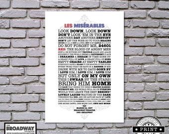 Les Miserables - Unframed - Quotes - Lyrics - Typography Print