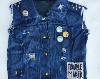 Baby Punk, Baby Denim, Baby Vest, Distressed Denim Vest, Baby Boy Vest, Babyy Girl Vest, Toddler Vest,