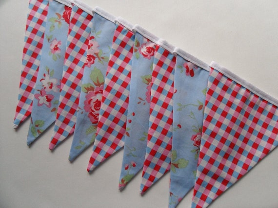 cath kidston ikea rosali bunting handmade fabric blue. Black Bedroom Furniture Sets. Home Design Ideas