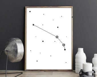 Aries constellation print, Zodiac Aries art, Printable wall art poster, Astrology art, Constellation art, zodiac print, black and white