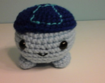Crochet roly poly turtle lt blue/dk blue