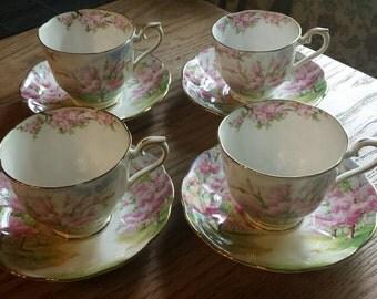 "Set of 4 Royal Albert ""Blossom Time"" tea cups & saucers"