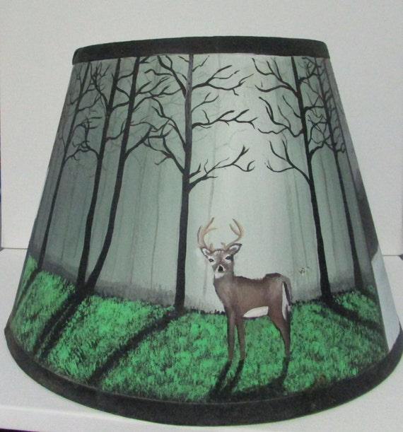 Hand Painted Lamp Shades: Hand Painted Lamp Shade Acrylic Landscape By MariecsUniques