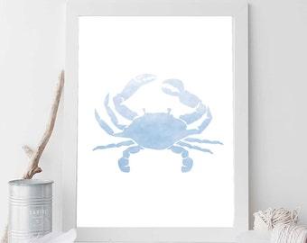 Blue Crab, Aqua Blue, Nautical Decor, Crab Print, Crab Art, Blue Ocean Decor, Beach Printable, Coastal Decor, Nautical Nursery Art, Wall Art