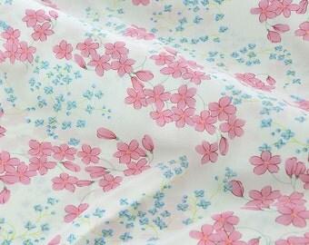 Blue Pink Floral Gauze Fabric MJ371