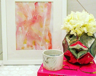 Pink and Orange Abstract Watercolor Painting - Framed