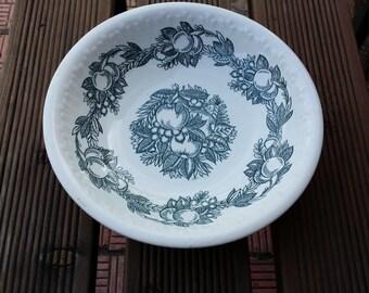 Old Ceramic plate. Vintage saucer. Drawing fruit. Home decor. Kitchen decor. Made in USSR