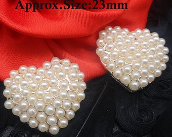 Pearl Heart Buttons Valentine's Day Ivory Pearl Set In Silver Tone Metal Heart Button Embellishments Wedding Button 23mm