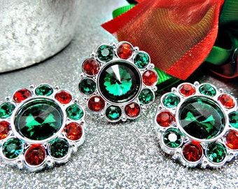 Wholesale CHRISTMAS GREEN Rhinestone Buttons w/ Red Surrounding Acrylic Rhinestone Buttons Coat Fashion Garment Buttons 25mm 2997 6 3R