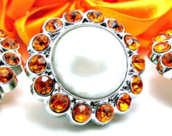 WHITE Pearl Rhinestone Acrylic Buttons W/ Orange Surrounding Rhinestones Brooch Bouquet Coat Buttons 23mm 3185 09P 40R