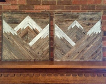 Rustic Mountain Tops Set Of 2. Reclaimed Wood Wall Art. Wood Mountains.  Mountain Wood Wall Art.  Handmade Mountains.  Rustic Mountains.