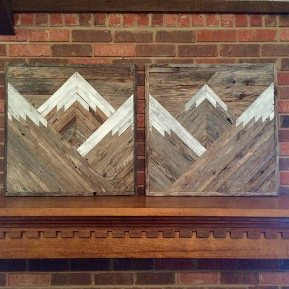 Rustic Mountain Tops Set Of 2 Reclaimed Wood Wall Art