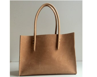 Beige leather bag-understatement-/ used look