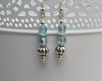 Morning Skies. Pretty pale blue glass and metal beaded earrings.