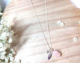 "Sterling Silver Lariat Necklace ""Azalea"" massif and natural stone"