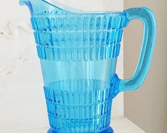 Blue Glass Pitcher