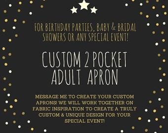 Custom Full Apron, Custom 2 Pocket Apron, Bridal Shower Gift, Designer Apron, Multi-Use Apron, Craft Apron, Tie Apron, Plus Size Apron