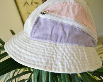 White Pastel Pink Purple Buckethat Zipper Pouch Vintage 90s