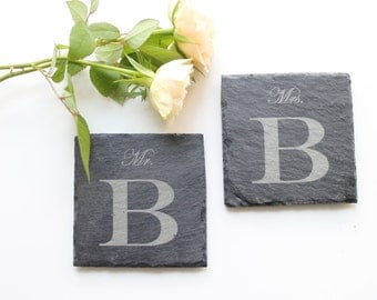 personalised coasters made of slate Mr. & Mrs. wedding, anniversary, set of 2 / personalized slate coaster, wedding gift