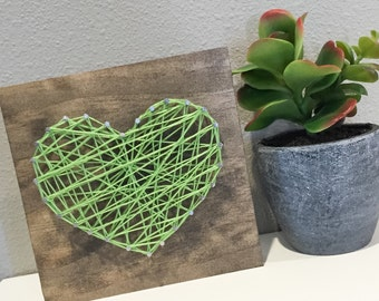 String Heart Wall Decor, Rustic Wood Sign