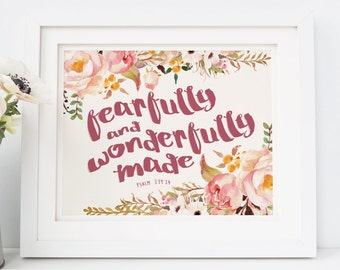 Psalm 139:14, Baby Girl Nursery Bible Verse, Bible Verse Art, Baby Shower Decor, Girl Nursery Scripture, Fearfully And Wonderfully Made