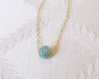 Gold Filled  Bracelet with Turquoise and Gold Ball Charm, GB-120