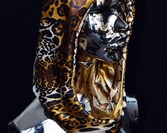 Satin hood, animal print