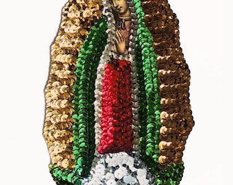 medium VIRGIN of GUADALUPE sequin applique patch