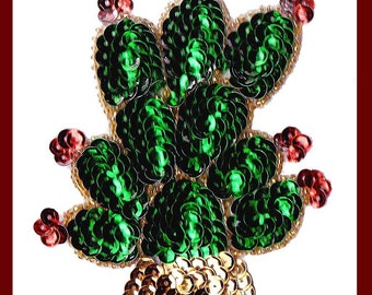 "Sequin CACTUS ""nopal"" applique patch green, red and gold"