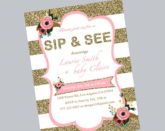 sip & see invitation, sip e see shower, baby shower invitation, sip and see invitation, gold glitter printed invites, Floral baby shower