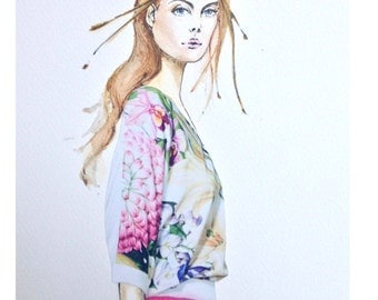Watercolour Fashion Illustration Titled Rose Pleasure with Free Shipping Standard Delivery, Print